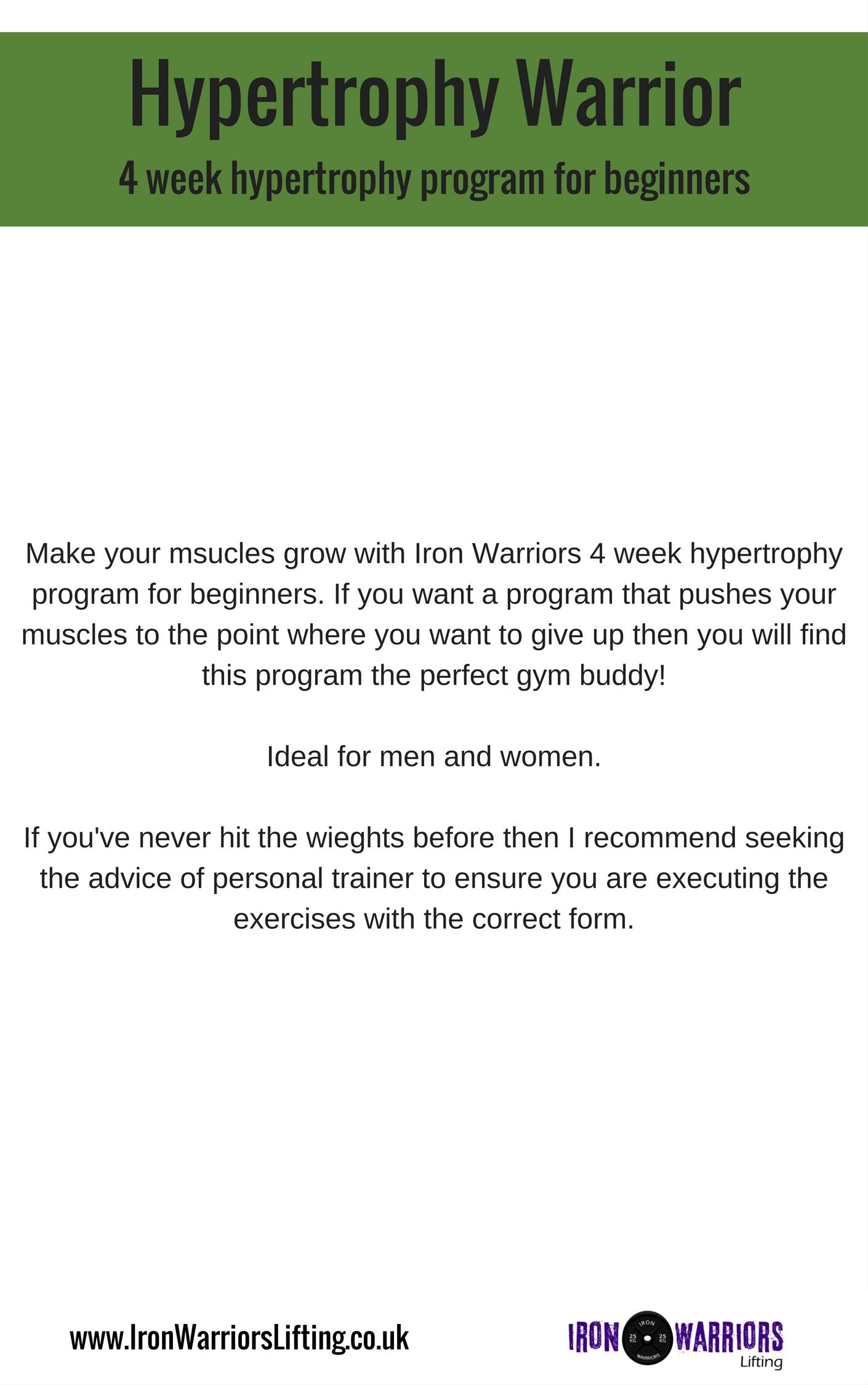 Free muscle building program! Hypertrophy Warrior  – Iron